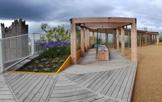 roof top garden with decking and pergola